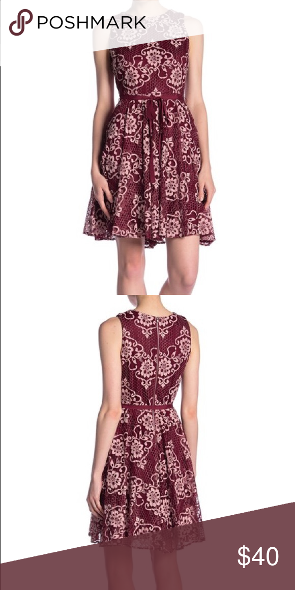 Sleeveless Floral Lace Dress By Gabby Skye A Two Tone Lace