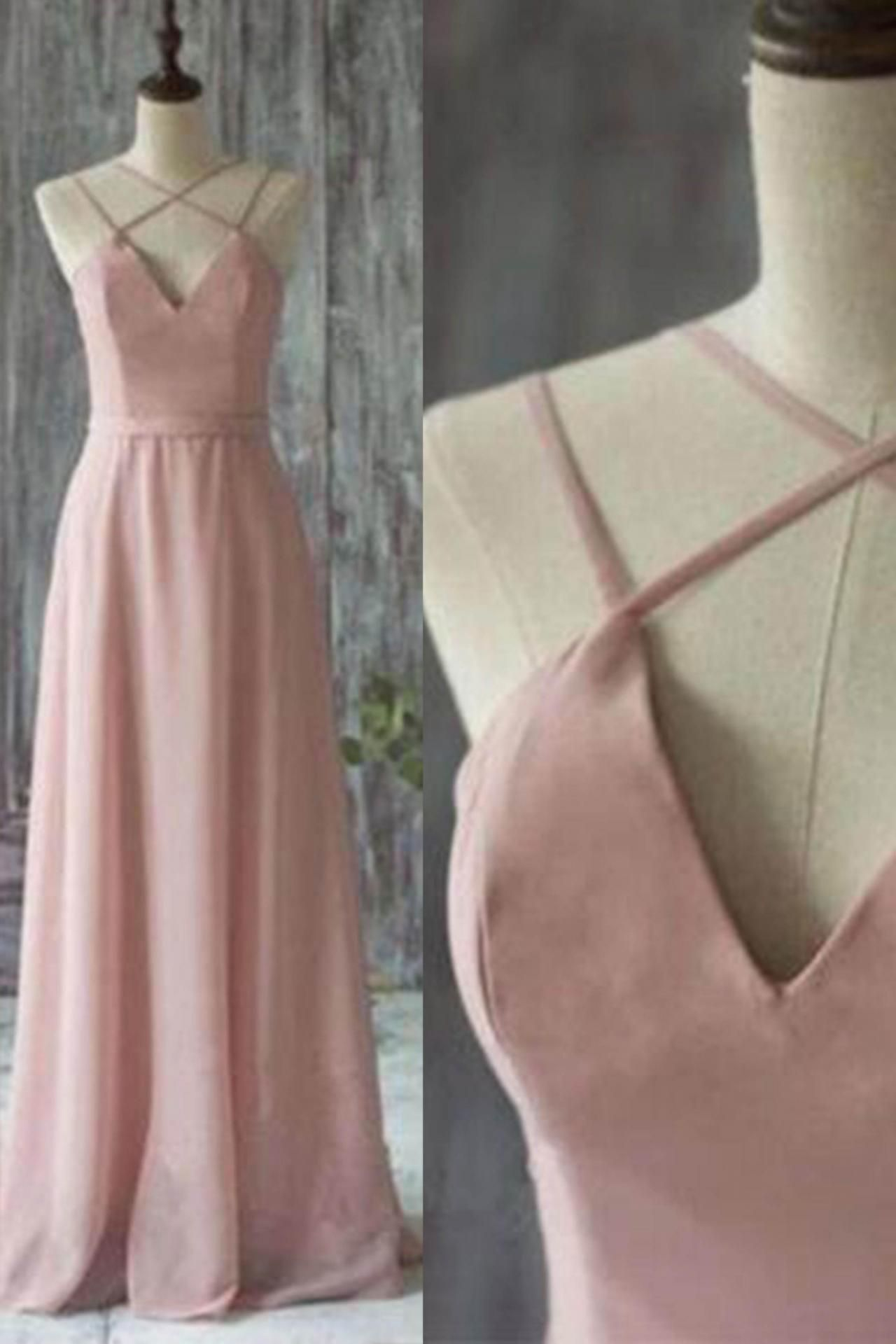 Simple pink chiffon long prom dress pink evening dress elegant