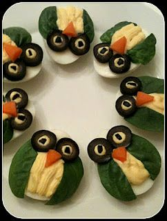 Deviled eggs are one of my favorite party staples and these ones keep the owl theme going.
