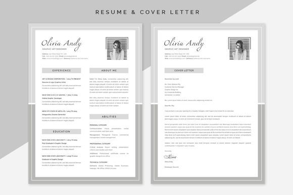 awesome OLIVIA Resume \ Cover Letter CreativeWork247 - Fonts - fonts for resume