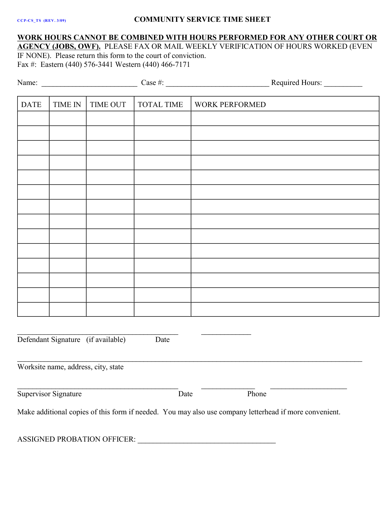 community service hours sheet for court Court Ordered Community Service Form | ... community service hours ...