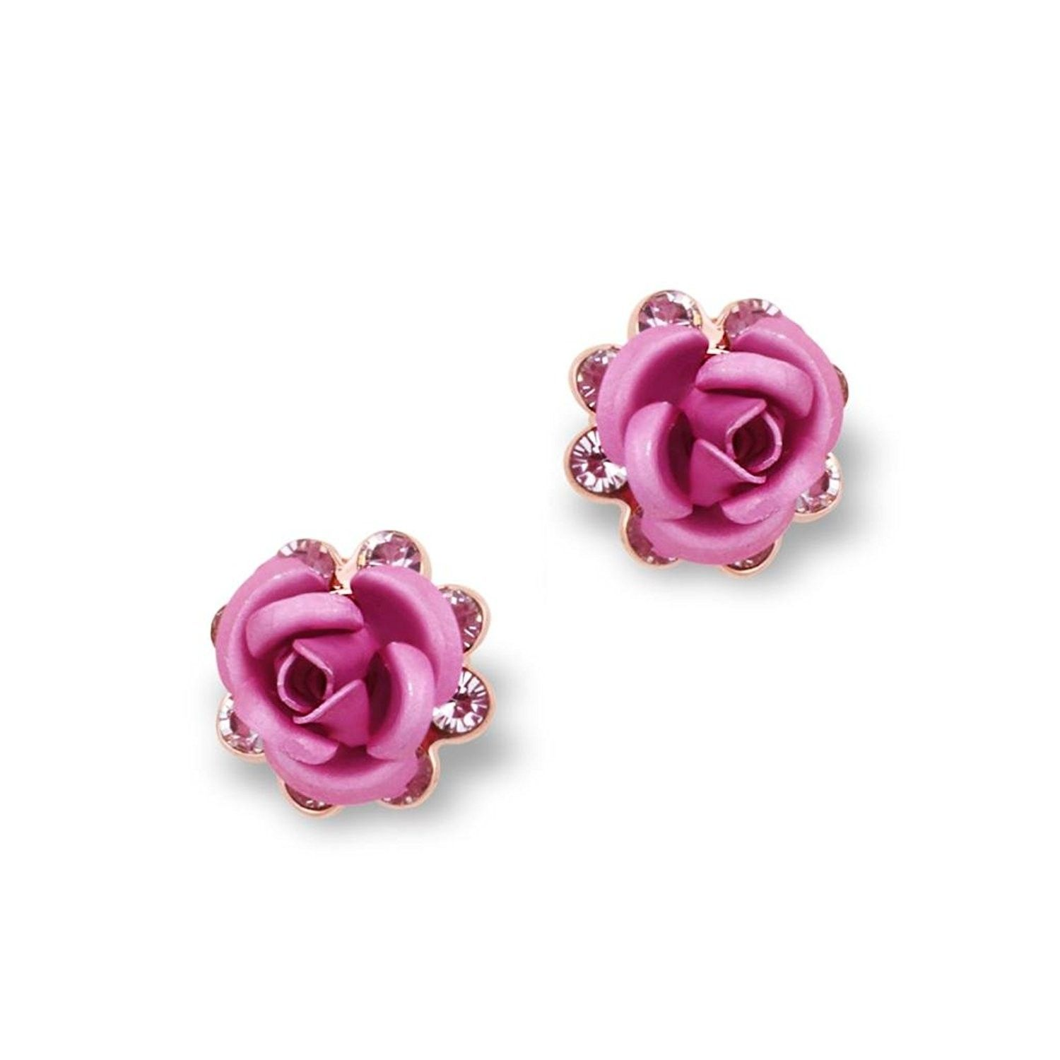 Women S Rose Flower Stud Earrings Pink E16 Cb11kygzbht Flower Earrings Studs Flower Studs Stud Earrings