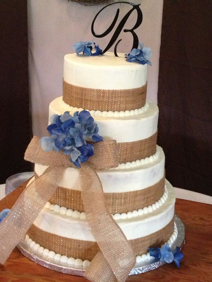 Burlap Wedding Cake with different accent colors Coral