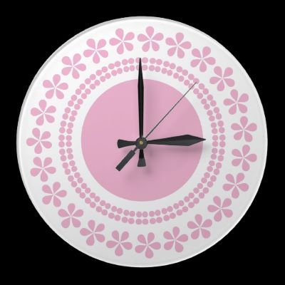 Pink flowers on white, round wall clock by imagineallart