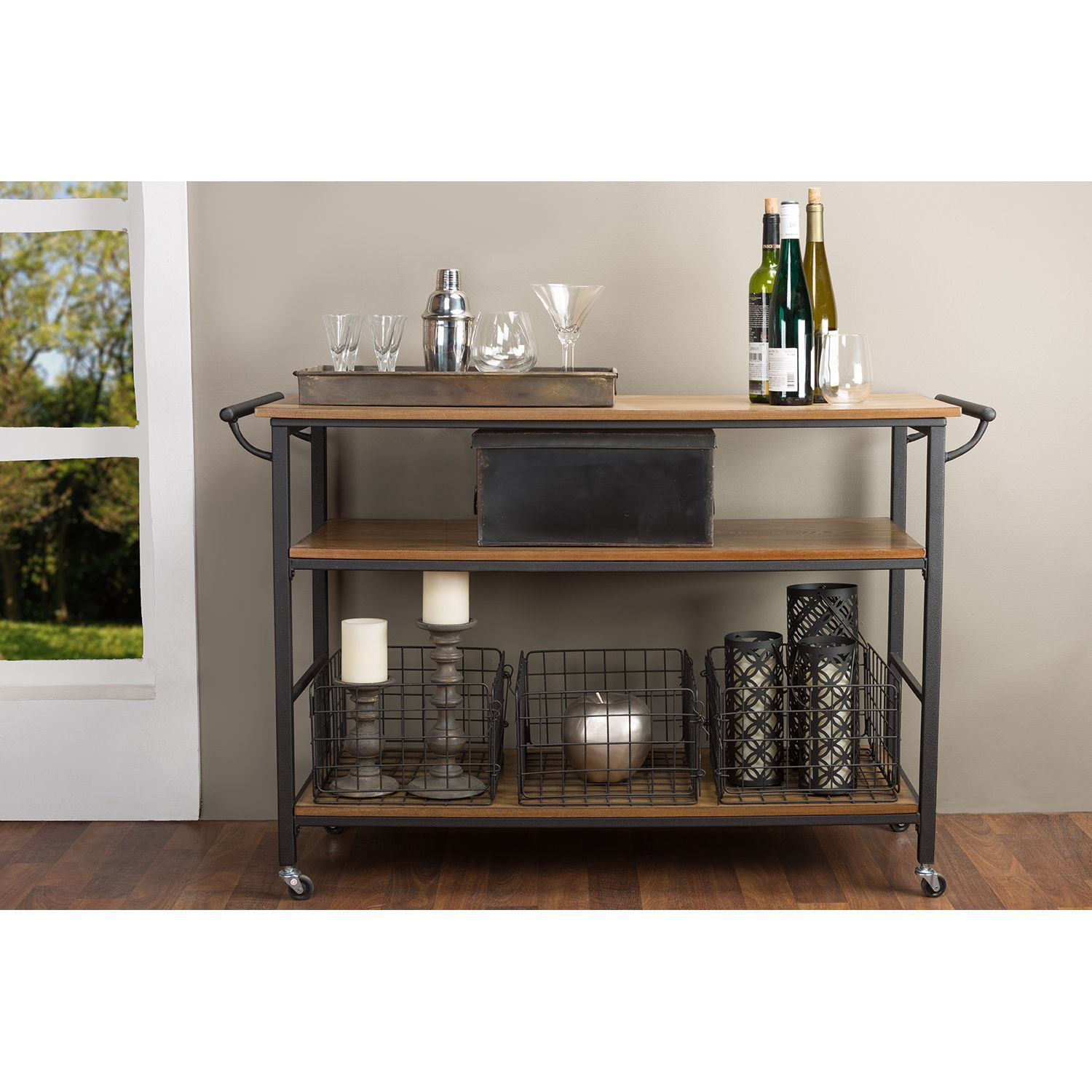 Wood And Metal Jackson Kitchen Cart: Stark Rustic Styling Plus Generous Surface Space Combine