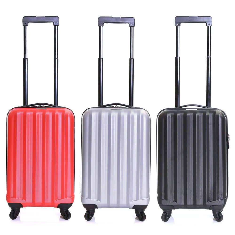 RED Swirl Impact Resistant Light Hard Suitcase 20 54x33x22cm Cabin ...