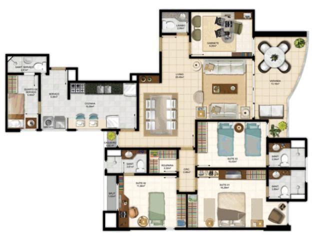 Mansão Aquarius Marcial - 3 Suites  132 a 134m²