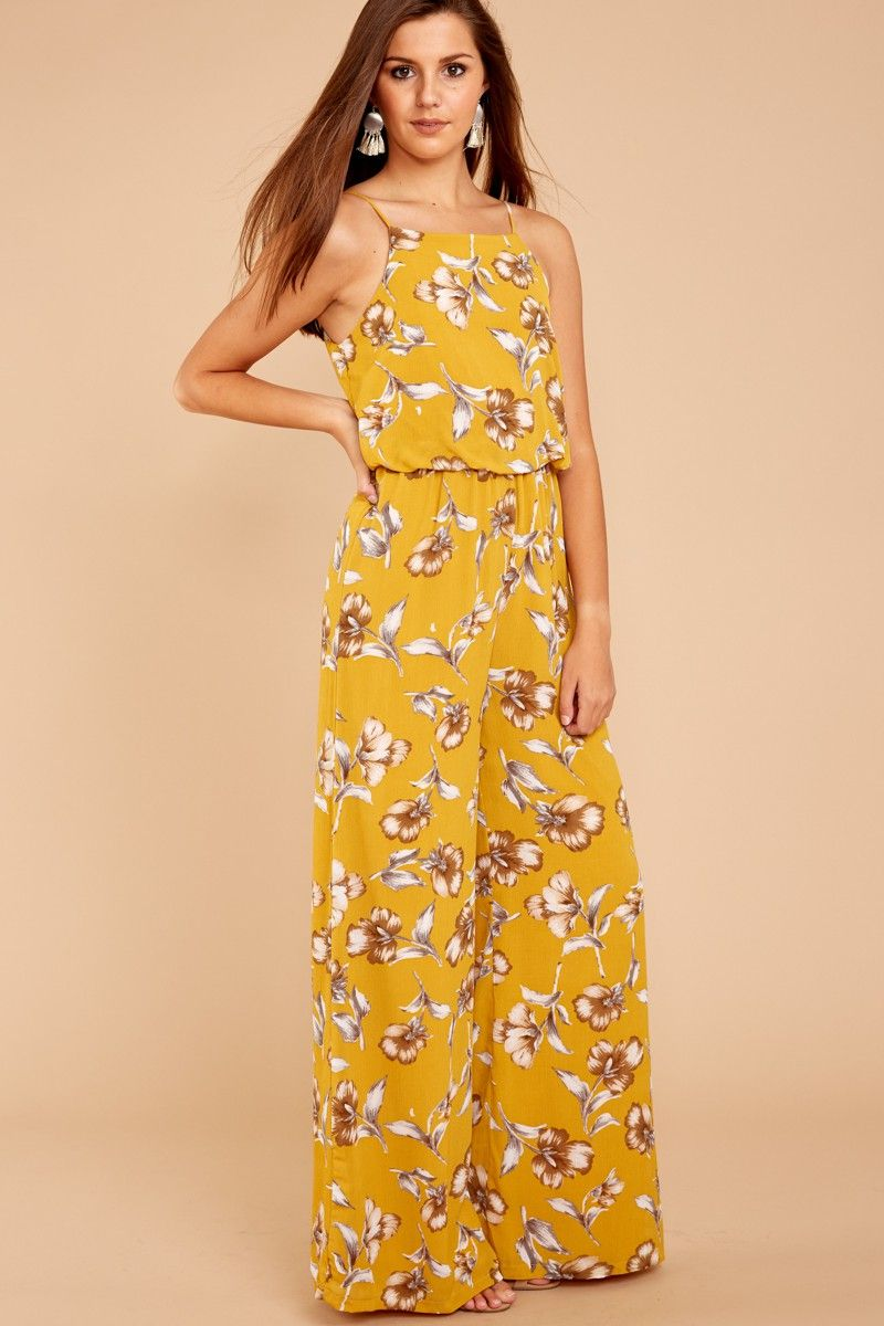 naturally elegant yellow print jumpsuit at reddressboutique