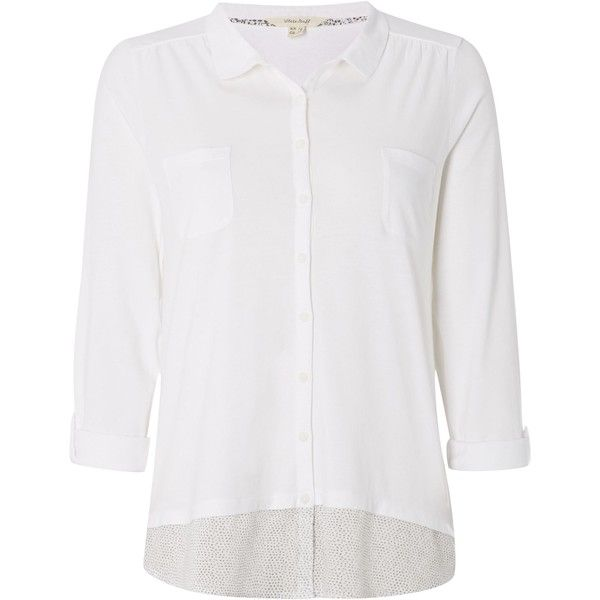 White Stuff Botanical Jersey Shirt ($43) ❤ liked on Polyvore featuring tops, clearance, white, 3/4 sleeve shirts, polka dot shirt, floral tops, white collar shirt and white floral shirt