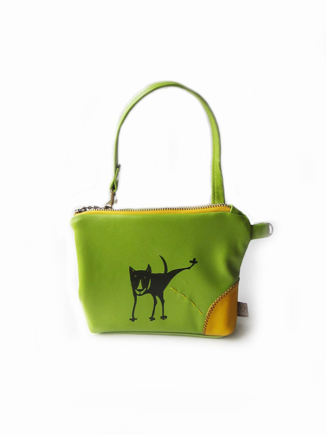Leather Purse Ing Dog Pouch Lime Green By Squirrellicious
