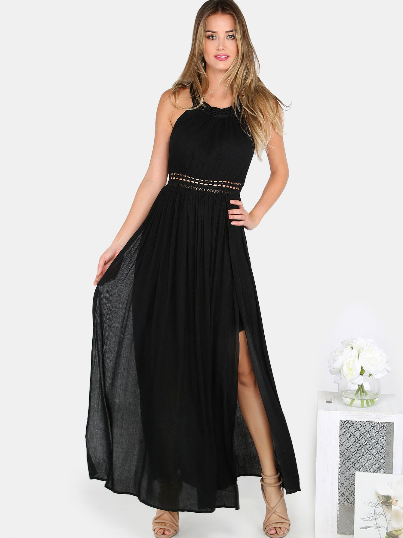 e2b5001cacd3 Find yourself lost in love once you put on the Knotted Crochet Maxi Dress.  Features knot design straps with hook and eye closure at top