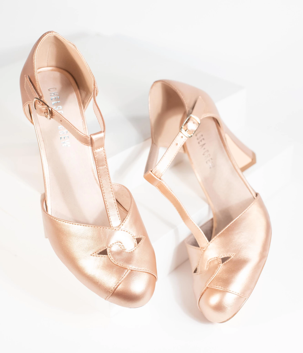 Chelsea Crew Rose Gold Leatherette Glinda T Strap Heels Unique Vintage T Strap Heels Strap Heels Kitten Heel Wedding Shoes