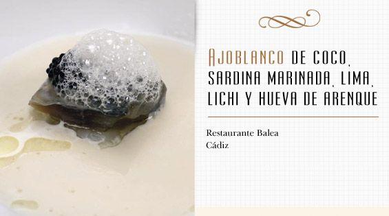Ajoblanco de coco, sardina marinada, lima, lichi y hueva de arenque