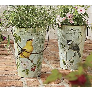 Set Of 2 Songbird Pails From Through The Country Door Ni41981 Painted Milk Cans Tin Can Art Flower Pots