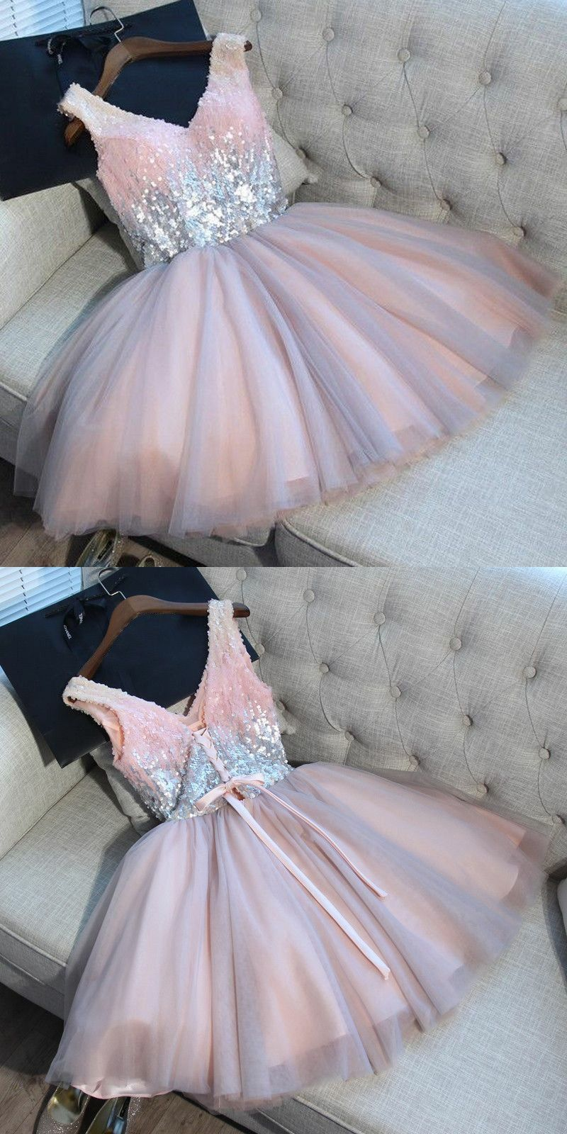 Pink dress hoco  ALine VNeck Short Light Grey Tulle Homecoming Dress with Sequins