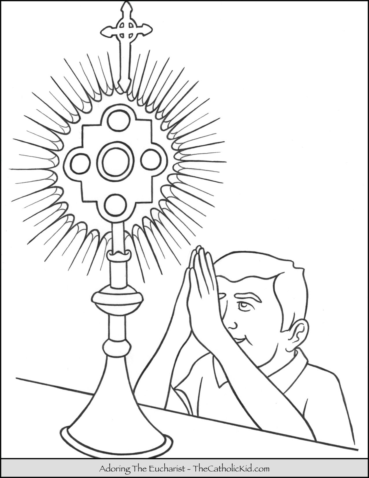 - Child Adoring The Holy Eucharist Coloring Page - TheCatholicKid