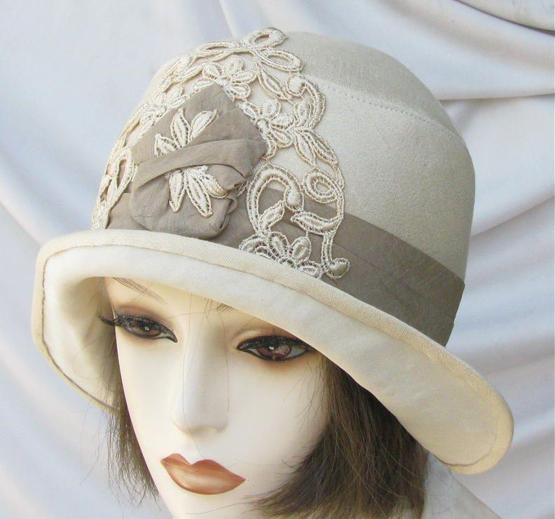 Ivory Vintage Reprodution Cloche Hat