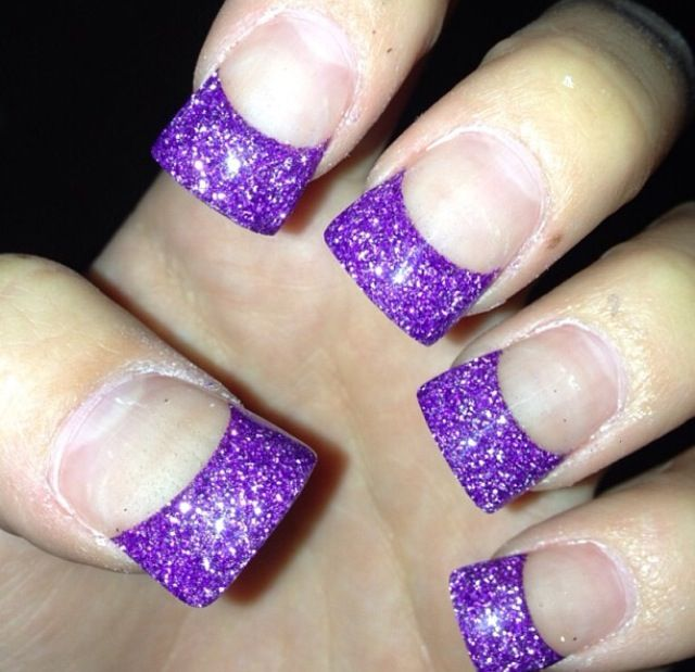 Purple sparkly acrylic nails French tips | Nails ...
