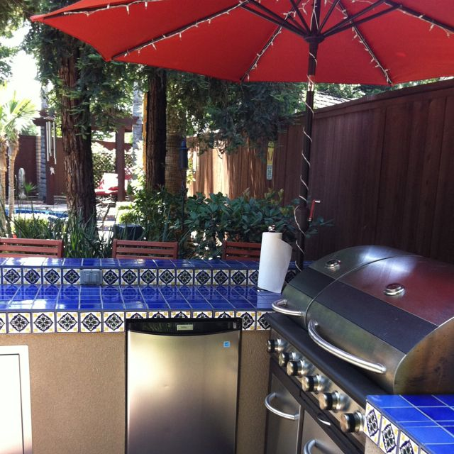 Outdoor Bar Spanish Tile Stucco Backyard Patio