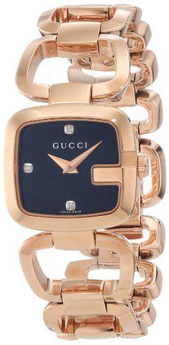 864231ff8c1 Gucci Women s YA125512 G-Gucci Black Sun Brushed Dial with Diamonds Watch