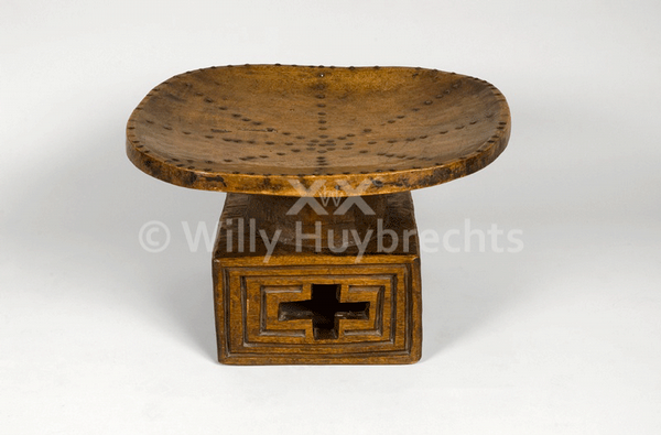 African Seat In Studded Wood Base And Geometric Pattern