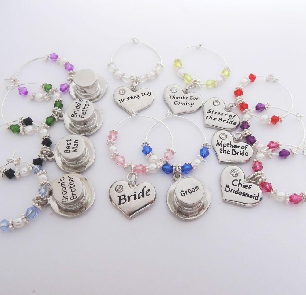 Heart Top Hats Wedding Wine Glass Charmsfavourstablegiftsbride