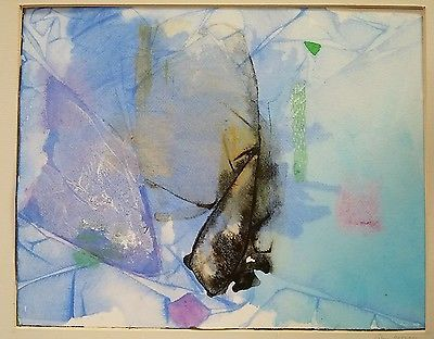 Original watercolor painting abstract. Great colors. signed Eileen Noonan