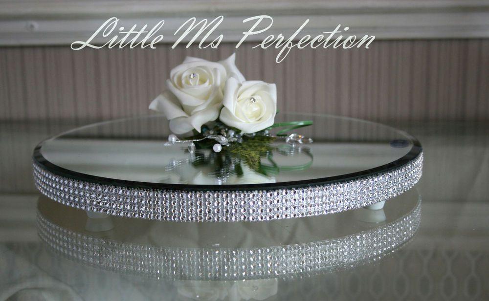 ROUND DIAMANTE CRYSTAL MIRROR PLATE CAKE STAND WEDDING TABLE CENTREPIECE 12\  & Round diamante crystal mirror plate cake stand wedding table ...