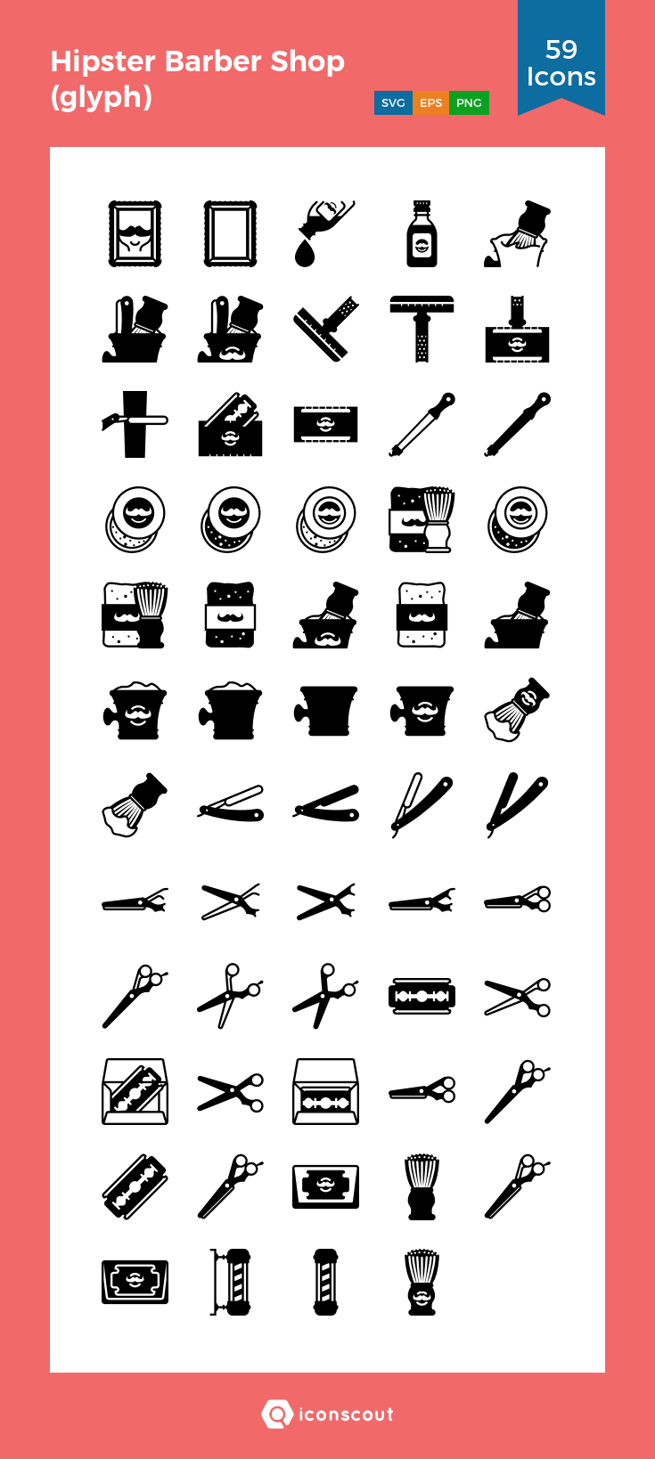 Download Hipster Barber Shop (glyph) Icon pack Available