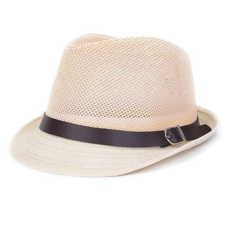 1pc Unisex Women Men Casual Trendy Beach Sun Straw Panama Jazz Hat Cowboy Straw  Hat Wide Brimmed Fedora Cap With Belt 7 Colors 4fff189cfc6a