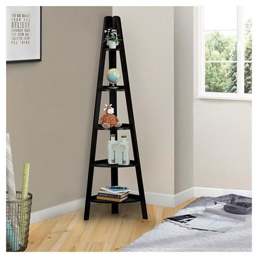 Weve Cornered The Market On Great Bookcases This 5 Shelf Ladder Style Corner Bookshelf Gives You Storage Room In An Area That Tends To Go Waste