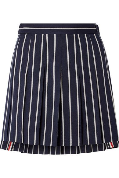 Thom Browne Pleated striped wool and cotton blend twill mini skirt