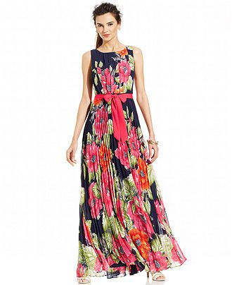 d09bedc9ce96f Eliza J Sleeveless Floral Pleated Maxi Dress - Maxi Dresses - Women - Macy's