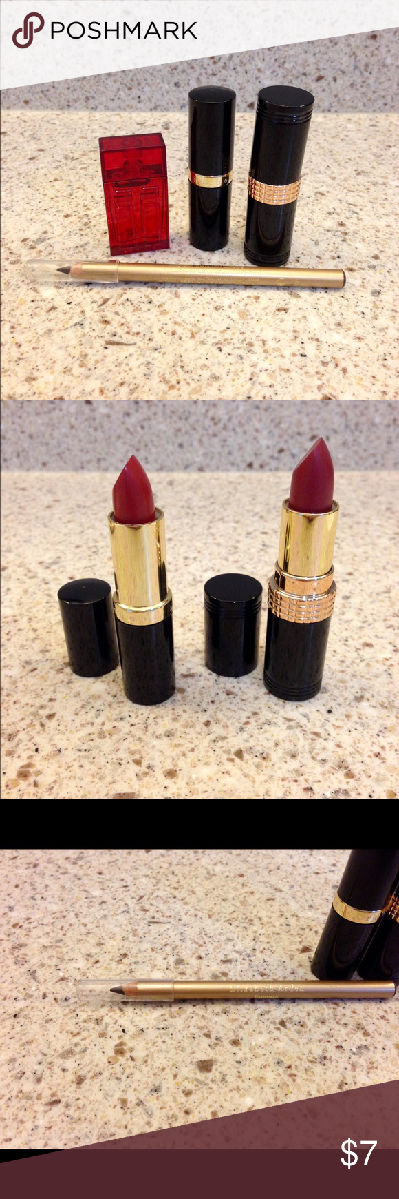 Elizabeth Arden Bundle! All brand new, nothing used. Only opened to show lipstick color.   Two lipsticks- cassis 24 & wild winterberry 56  One Eye pencil- espresso   One red door perfume- .16 oz  All for one low price. Open to offers! Elizabeth Arden Makeup