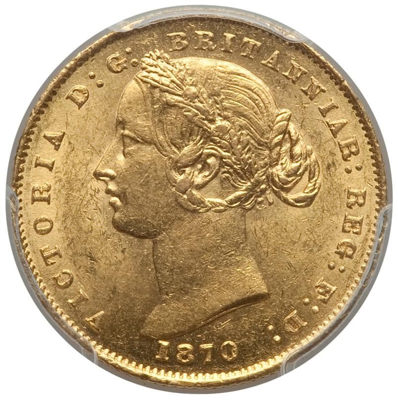 Gold Sovereign 1870S Sydney Australia MS61 PCGS Coin