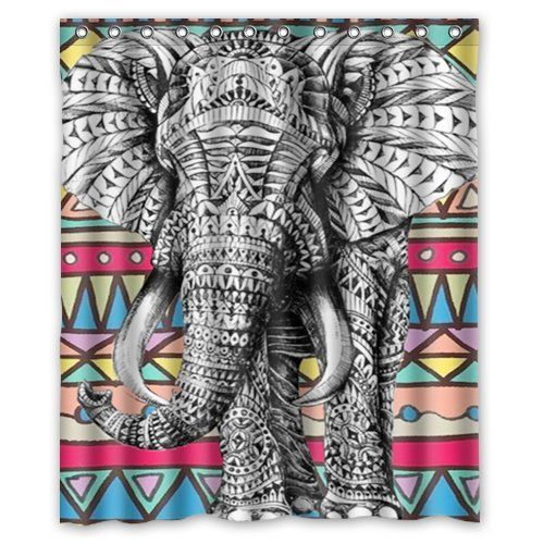 Special Design Elephant Art On Aztec Pattern Waterproof Bathroom Fabric Shower Curtain 60 X 72
