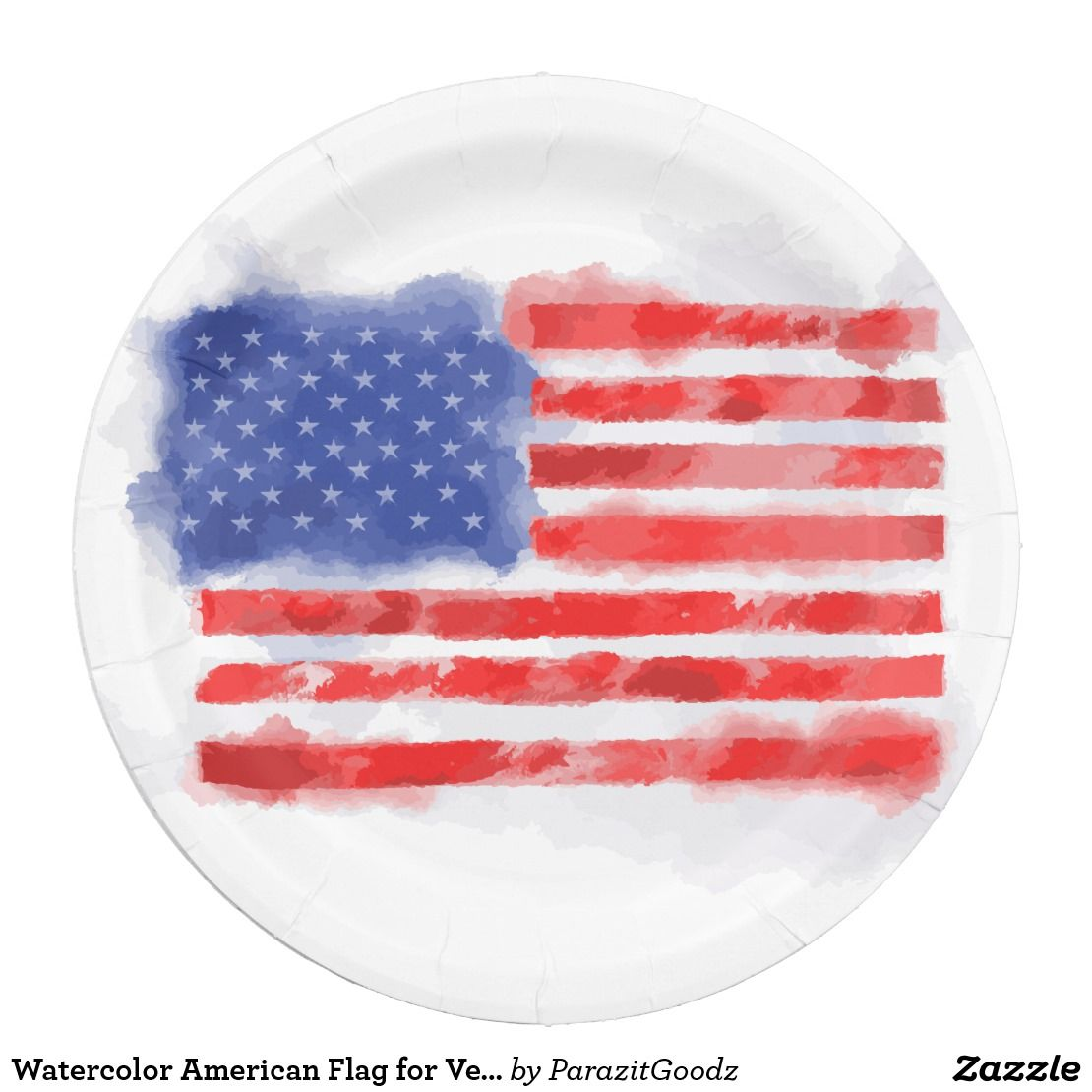 Watercolor American Flag For Veterans And Patriots Paper Plate Zazzle Com American Flag Flag Round Stickers