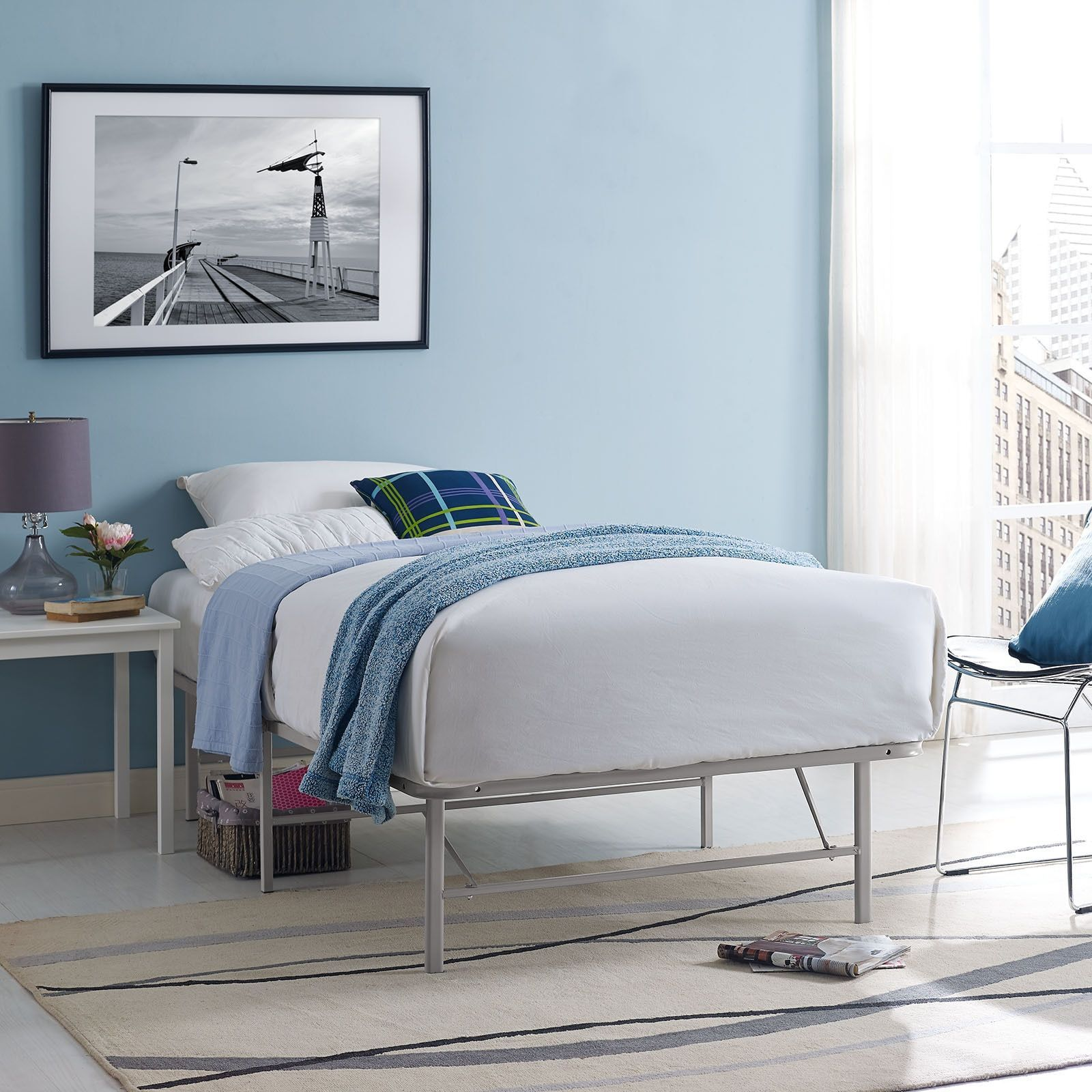 Modway Grey Horizon Stainless Steel Bed Frame Twin Girl S