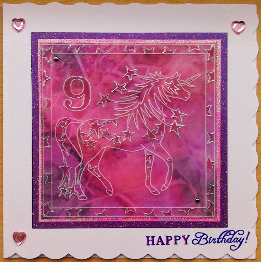 Clarity Groovi Plates unicorn card for my granddaughter's