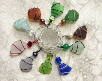 Sea Glass  Wine Charms - use some of my colored wire?