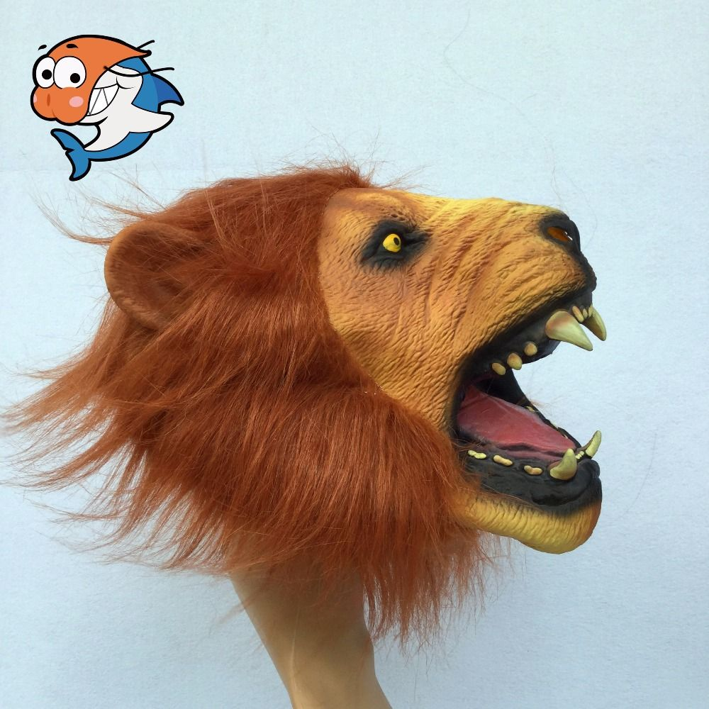 6a91440139 Click to Buy    Angry Lion Head Latex Masks Scary Halloween Party Full