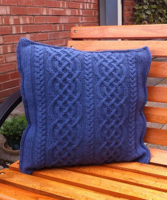 Free Knitting Pattern For Celtic Knit Aran Pillow Cable Cushion