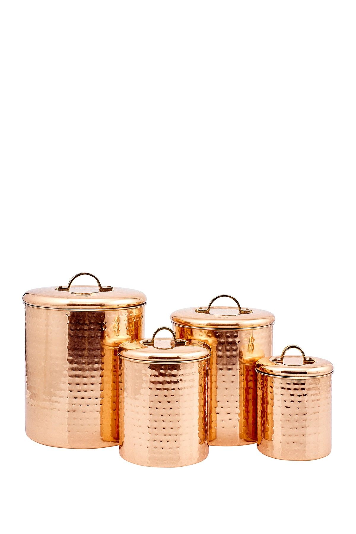Odi Housewares Copper Hammered Canister 4 Piece Set Copper Kitchen Decor Copper Canisters Copper Kitchen Accessories