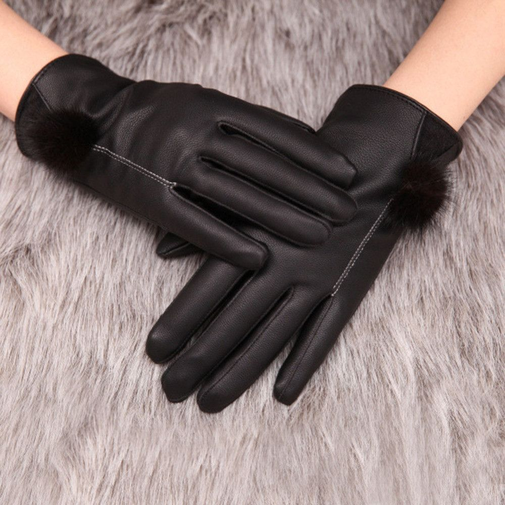 High quality womens leather gloves - New High Quality Women S Winter Warm Black Leather Gloves Touch Screen Mittens