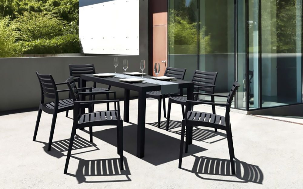 Commercial outdoor dining furniture Brushed Aluminum Aries Dining Arm Chair Pack Pinterest Aries Dining Arm Chair Pack Commercial Outdoor Dining