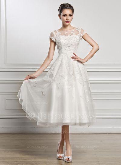 [Kr 1 535] A-linjeformat Rund-urringning Tea-lång Tyll Spetsar Bröllopsklänning med Pärlbrodering Paljetter