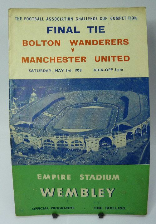 1958 FA Cup Poster of Programme Man Utd Bolton