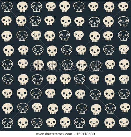 Vector halloween seamless patterns. Cartoon skulls. Halloween elements for scrap-booking. Hand drawn vector illustration. by motuwe, via ShutterStock