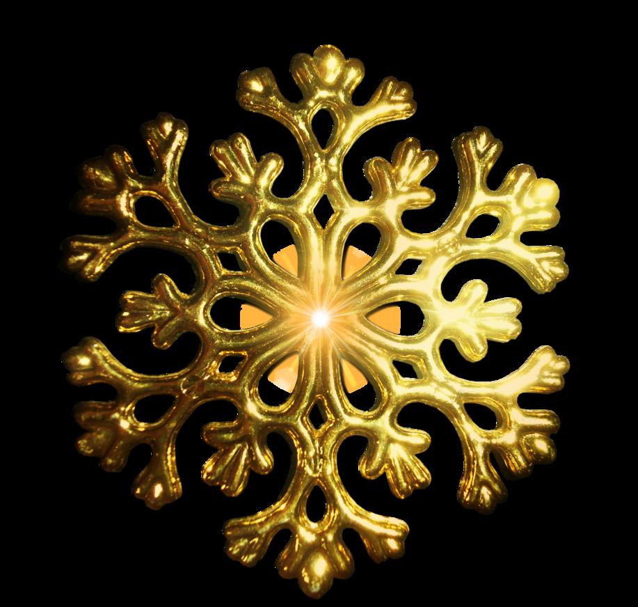 Pre-Cut Gold Snowflake PNG by JSSanDA