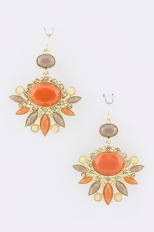 Acrylic Oval Stacked Jewel Earrings   luminousindulgence.com